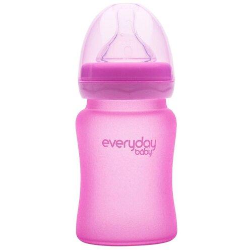 Купить EveryDay Baby бутылочка стеклянная с индикатором температуры, 150 мл, розовый, Бутылочки и ниблеры