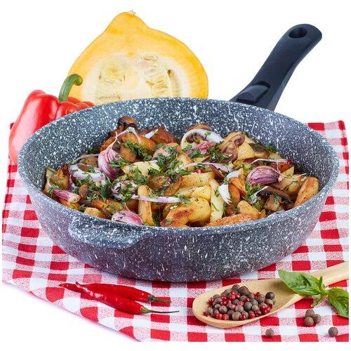Сковорода Традиция Мрамор литая 28 см со съёмной ручкой сковорода d 24 см kukmara кофейный мрамор смки240а