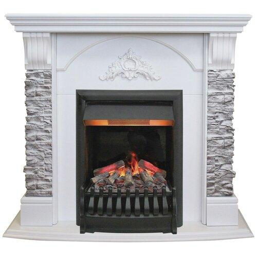 Электрический камин RealFlame Athena GR STD/EUG/24/25,5 + Oregan 3D белый электрический камин realflame elford std eug hl 24 25 5 firestar 25 5 3d белый дуб