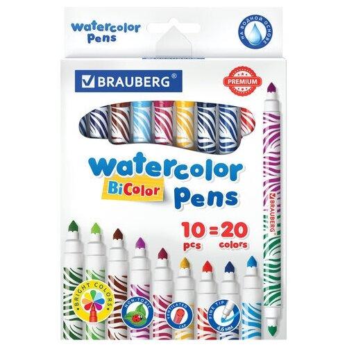 Купить Фломастеры двусторонние утолщенные BRAUBERG PREMIUM BI-COLOR , 10 шт., 20 цветов, двухцветные, вентилируемый колпачок, 151945, Фломастеры и маркеры