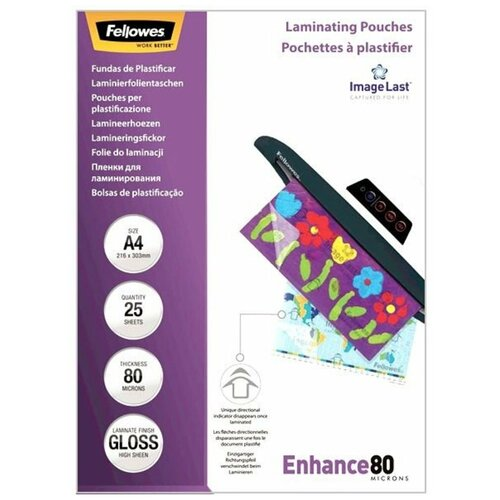 Фото - Пакетная пленка для ламинирования Fellowes A4 FS-53962 80 мкм 25 шт. пленка для ламинирования a5 fellowes fs 53060 154 216мкм 80 мкм глянец 100л