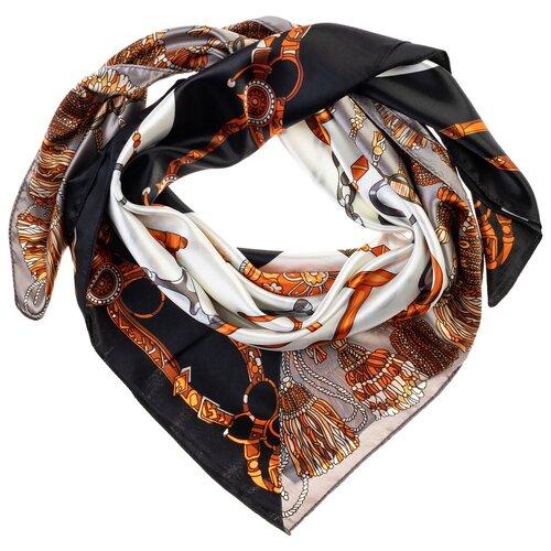 Шелковый платок на шею/Платок шелковый на голову/женский/Шейный шелковый платок/стильный/модный /21kdgPL902501-1vr Белый,Серый/Vittorio Richi/80% шелк,20% полиэстер/90x90