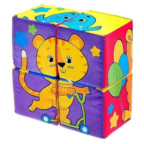 Купить ZABIAKA игрушка мягконабивная, кубики Собери картинку 4шт, 8*8см 4208983, IQ-ZABIAKA, Детские кубики
