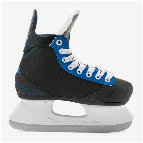 Коньки хоккейные IH 140 дет., размер: 32/35, цвет: Черный/Неоновый Синий OROKS Х Декатлон