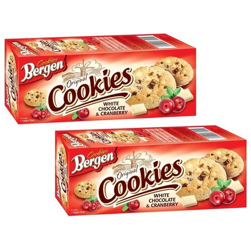 """Печенье BERGEN """"ORIGINAL COOKIES"""" с кусочками белого шоколада и клюквой, 135г, 2шт."""