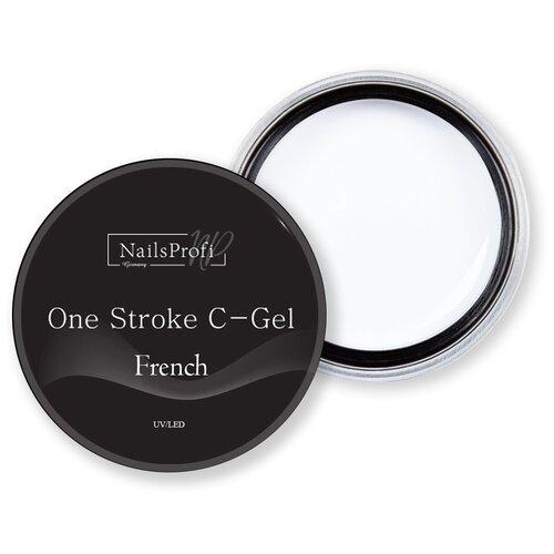 Купить Краска гелевая NailsProfi One Stroke C-Gel French белый