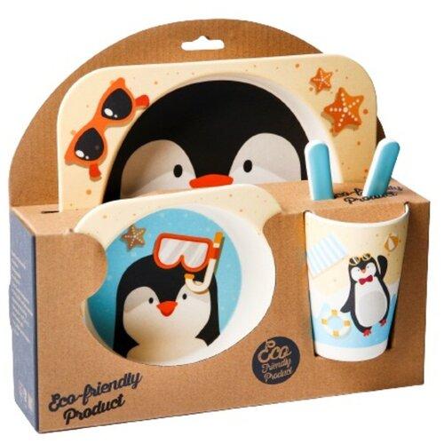 Фото - Набор детской посуды «Пингвинёнок», из бамбука, 5 предметов: тарелка, миска, стакан, столовые приборы набор посуды splash 7 предметов 3 миски стаканчик столовые приборы ц фиолетовый
