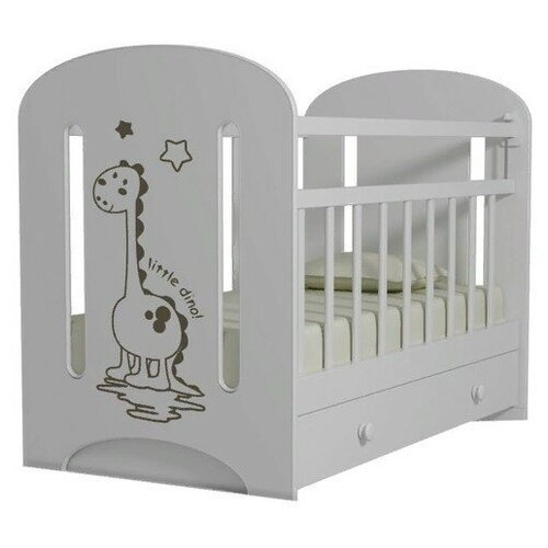 Кроватка Волжская деревообрабатывающая компания Dino (с ящиком) (классическая), поперечный маятник белый