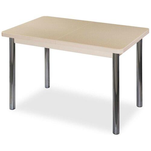 Стол кухонный Домотека Румба ПР КМ 02, раскладной, ДхШ: 110 х 70 см, длина в разложенном виде: 147 см, 06/МД бежевый/молочный дуб 02 хром