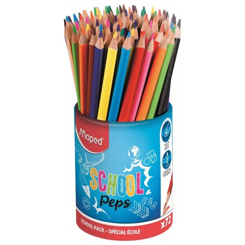 Фото - Карандаши цветные Maped COLOR PEPS 12 цветов, 72 шт,треуг,в стакане,832000 карандаши набор 18цв аквар maped color peps aqua кисть
