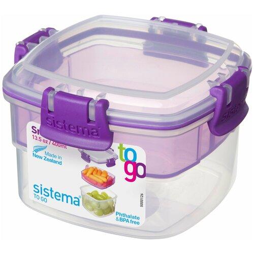 Фото - Sistema Контейнер двухуровневый TO GO 21320, 11.5x11.5 см, фиолетовый контейнер двухуровневый to go 1 4 л 14 5х15х9 6 см 21731 sistema