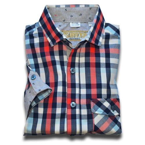 Рубашка детская Tsarevich L (146-152), красный/черный