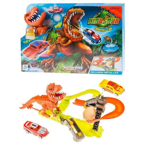 Трек автомойка с головой динозавра для мальчиков и девочек с 3-х лет/Трек с горками/Трек с 2-мя металлическими машинками