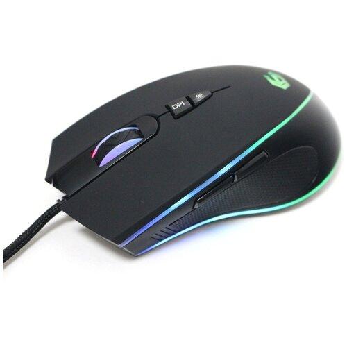 Мышь игровая Gembird MG-800 (USB, чёрн., 3200DPI, 7 кн., рег. подсв., каб. тканевый 1.8 м) (MG-800)