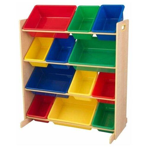 Стеллаж KidKraft Sort It & Store it с 12 контейнерами 83х47х100 см Primary & Natural эксклюзивный книжный шкаф kidkraft primary 14226 ke
