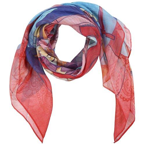 Платок женский шелковый, голубой, розовый, легкий арт-платок с авторским принтом Оланж Ассорти