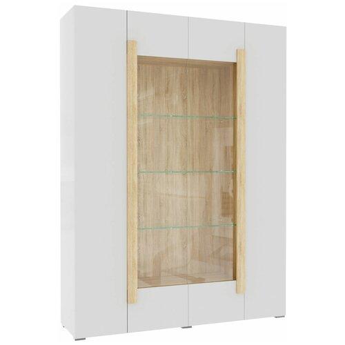 Фото - Шкаф-витрина для посуды Принцесса Мелания Куба 1715, (ШхГхВ): 146.4х39.5х199.5 см, дуб сонома/белый глянец витрина шкаф витрина 4 х дверная куба куба