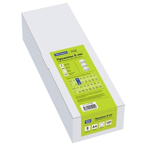 Фото - Пружина OfficeSpace пластиковые 8 мм белый 100 шт. пружина officespace пластиковые 22 мм белый 50 шт