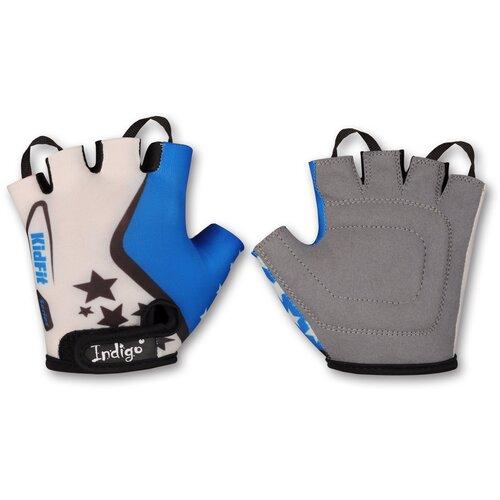 Перчатки вело детские INDIGO Звездочки SB-01-8803 Бело-Голубой 4XS