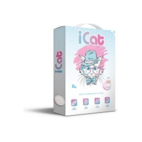 Icat комкующийся белый наполнитель с ароматом детской присыпки, в коробке, 5 кг, греция (2 шт) icat наполнитель комкующийся белый для туалета кошек с ароматом детской присыпки 5 кг