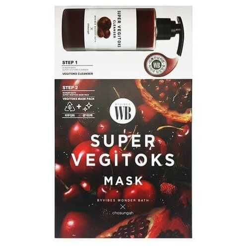 Осветляющая 2-х ступенчатая детокс-система Chosungah By Vibes Wonder Bath Super Vegitoks Mask Red 1 шт