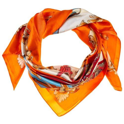 Шелковый платок на шею/Платок шелковый на голову/женский/Шейный шелковый платок/стильный/модный /21kdgPL903011-3vr оранжевый, бежевый/Vittorio Richi/80% шелк,20% полиэстер/90x90