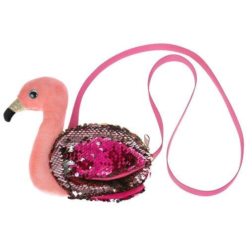 Купить Мягкая игрушка сумочка в виде фламинго из пайеток 16х18см, Мой питомец, Мягкие игрушки