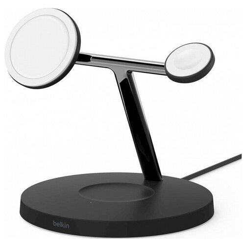 Фото - Беспроводное зарядное устройство Belkin MagSafe 3-in-1 Wireless Charger WIZ009vfBK (Black) зарядное устройство belkin mixit metallic black