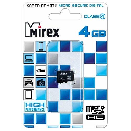 Карта памяти Mirex microSDHC Class 4 4 GB чтение: 12 MB/s запись: 5 MB/s