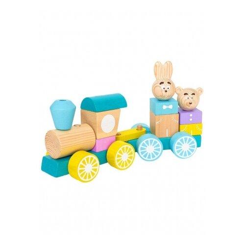 Каталка-игрушка Томик Паровоз с вагоном 1-30 разноцветный