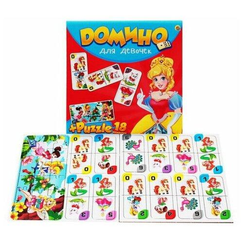 Настольная игра Рыжий кот Домино + пазлы Для девочек ИН-6754 настольная игра домино пазл для малышей для девочек