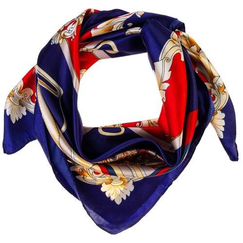 Шелковый платок на шею/Платок шелковый на голову/женский/Шейный шелковый платок/стильный/модный /21kdgPL903020-1vr синий,красный/Vittorio Richi/80% шелк,20% полиэстер/90x90