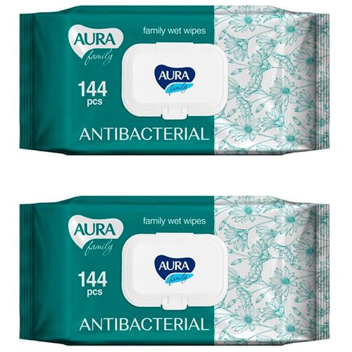 Купить Влажные салфетки Aura Family антибактериальные, 144 шт., 2 уп.