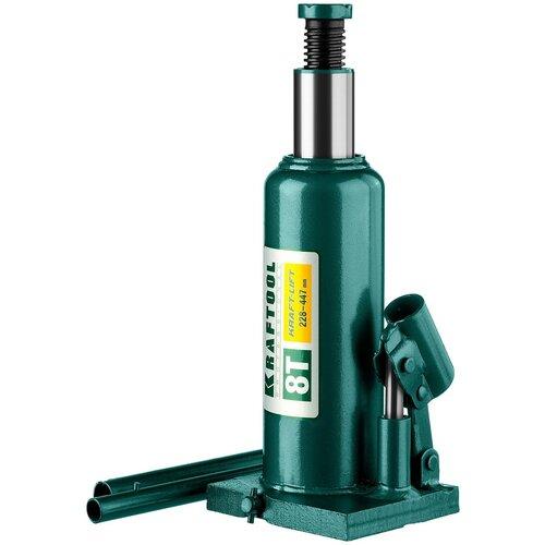 Домкрат бутылочный гидравлический Kraftool Kraft-Lift 43462-8_z01 (8 т) зеленый домкрат гидравлический бутылочный kraftool 10т kraft lift 43462 10 z01