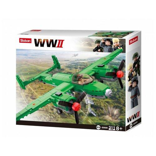 Конструктор SLUBAN WW2 M38-B0688 Самолет ТУ-2 конструктор sluban ww2 m38 b0682 газ 67