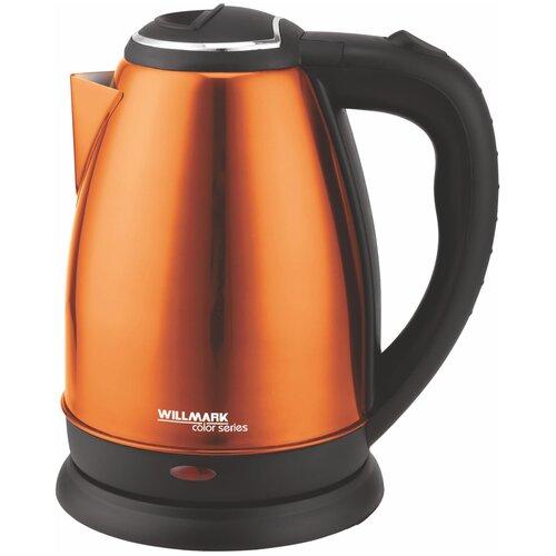 Фото - Чайник эл. WILLMARK WEK-1808SS (1.8л, поворот на 360 градусов, корп. из нерж. стали) оранжевый чайник электрический willmark wek 1808ss белый