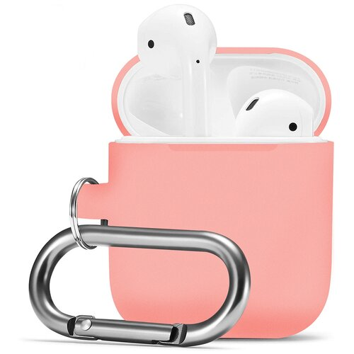 Чехол для наушников Apple AirPods, AirPods 2 с карабином / Чехол на кейс Эпл ЭирПодс 2 с поддержкой беспроводной зарядки / Силиконовый чехол для беспроводных блютуз наушников (Pink)