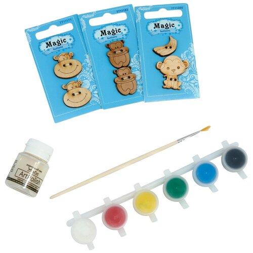 Купить Набор пуговиц для раскрашивания 'Обезьянки' (2-3см), с красками, Astra&Craft, Astra & Craft, Роспись предметов