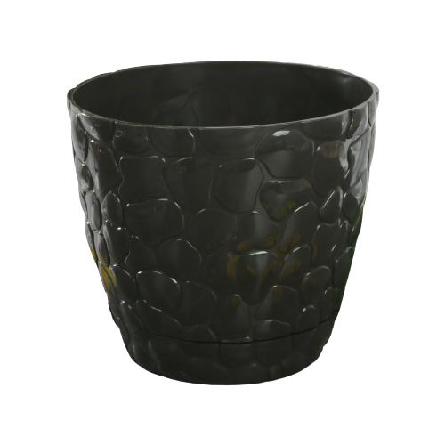 Кашпо IDEA (М-Пластика) с поддоном Камни 18 х 15.5 см черный по цене 364