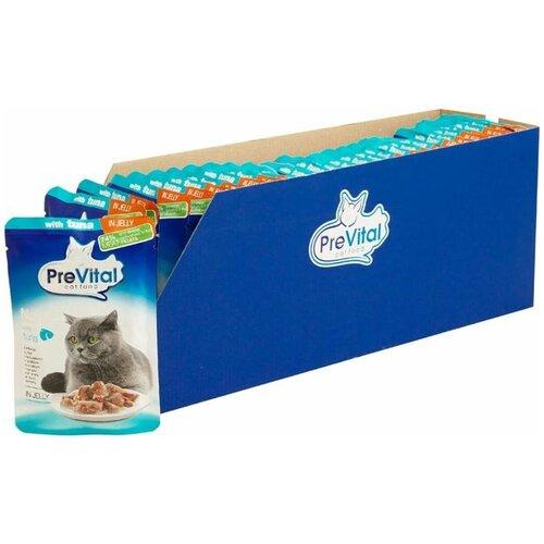 Влажный корм для кошек PreVital с тунцом 28 шт. х 85 г (кусочки в желе) влажный корм для кошек prevital с индейкой 28 шт х 85 г кусочки в желе