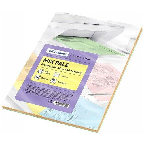 Фото - Бумага OfficeSpace A4 Mix Pale 80г/м2 100лист, разноцветный бумага officespace a4 pale 80г м2 50лист цветная фиолетовый