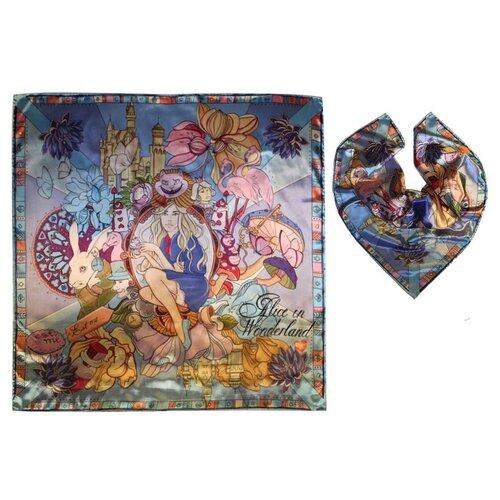 Платок женский шелковый, разноцветный, платок с авторским арт-принтом Оланж Ассорти