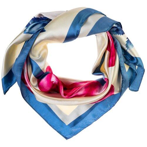 Шелковый платок на шею/Платок шелковый на голову/женский/Шейный шелковый платок/стильный/модный /21kdgPL903008-1vr белый,голубой/Vittorio Richi/80% шелк,20% полиэстер/90x90