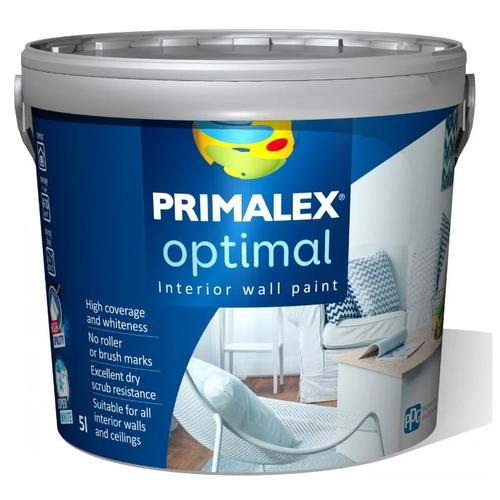 Фото - Краска акриловая PRIMALEX Optimal влагостойкая моющаяся матовая белый 5 л краска акриловая dali для кухни и ванной влагостойкая моющаяся матовая белый 5 л