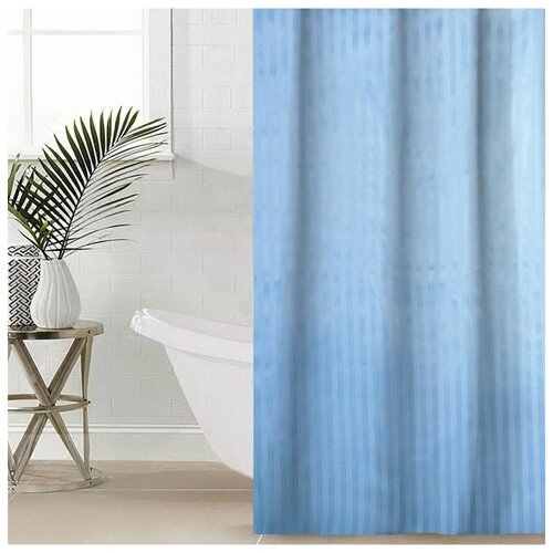 Фото - Штора для ванной Полоска, 180х180 см, полиэстер, цвет голубой штора для ванной доляна графика 180х180 732658 синий