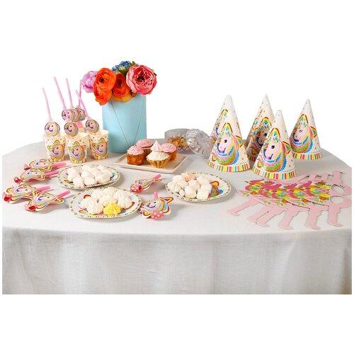 Набор для праздника «Единорог», 6 стаканов, 6 трубочек, 6 язычков, 6 тарелок, 6 колпаков, 6 очков ���������������� 6 ��������������