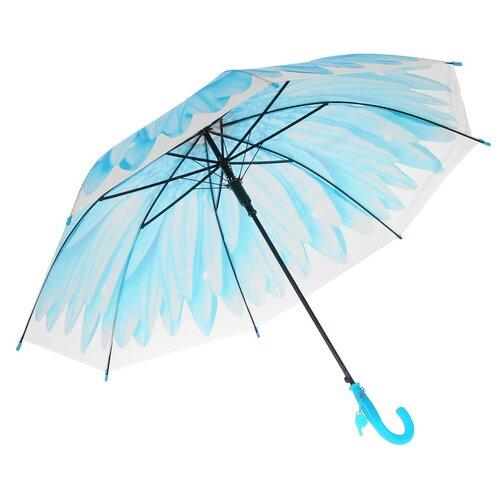 Зонт-трость «Гербера», полуавтоматический, со свистком, R=41см, цвет голубой