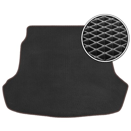 Автомобильный коврик в багажник ЕВА Toyota Highlander II (U40) 2007 - 2013 (багажник) (коричневый кант) ViceCar