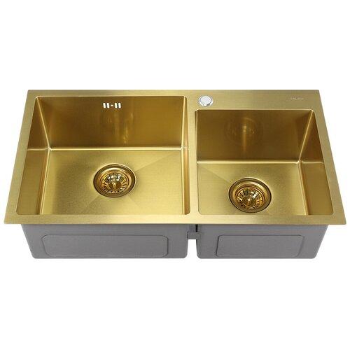 Врезная кухонная мойка 78 см MELANA MLN-7843 золото сатин кухонная мойка melana 218 t 10
