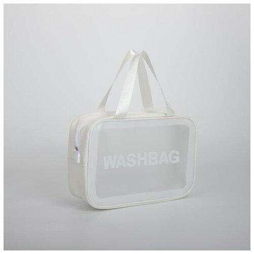 Косметичка ПВХ WashBag, 29,5*10,5*20 см, отд на молнии с ручками, белый 5448330